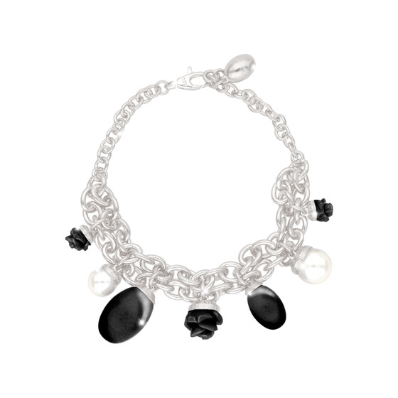Mediterraneo 18 Bracelet BMDBBN54 (white/Onyx paste and white pearl)