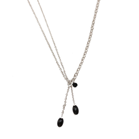 Mediterraneo Necklace BMDKBN08 (white/Onyx paste and white pearl)