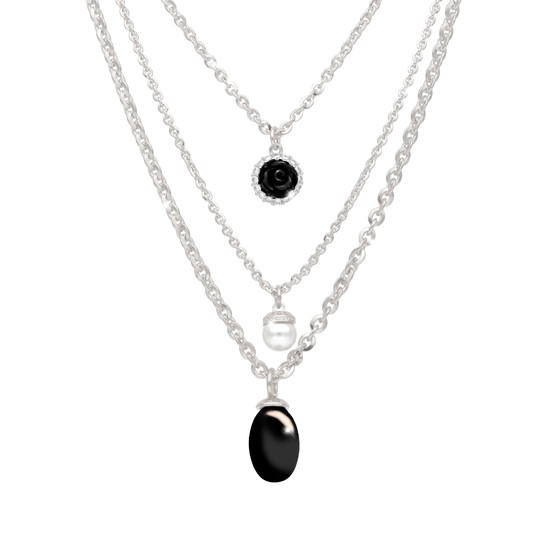 Mediterraneo 18 Necklace BMDKBN63 (white/Onyx paste and white pearl)