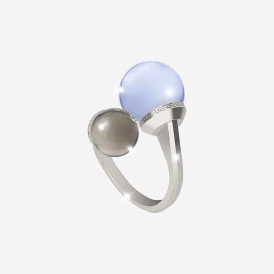 Кольцо Hollywood stone BHTABM04 (white/grey/blue matt)